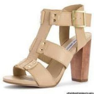 STEVE MADDEN Nevile Heeled Sandals Bone 7.5 In Box